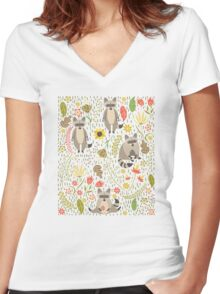 Raccoons Women's Fitted V-Neck T-Shirt