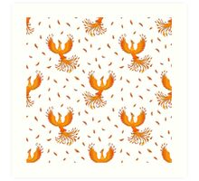 Pattern with Phoenix bird and feathers. Art Print