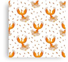Pattern with Phoenix bird and feathers. Canvas Print