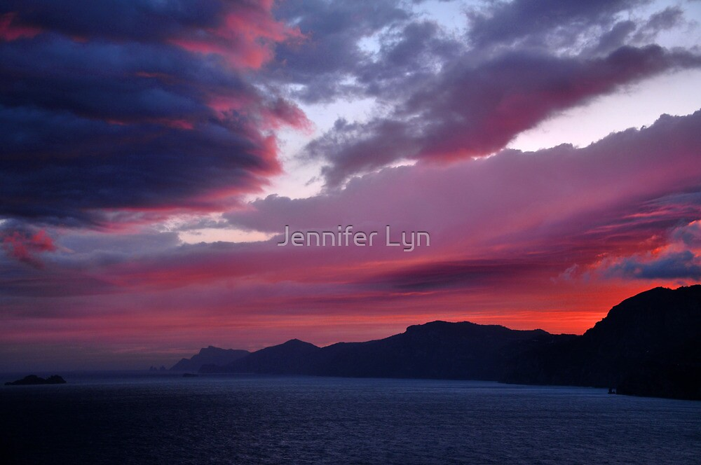 Sunset over the Isle of Capri, Italy by Jennifer Lyn King