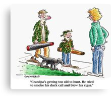 Cartoon: Grandpa's too old... Canvas Print