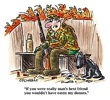 Cartoon: hunter & dog in duck blind Photographic Print