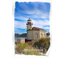 Merry Christmas  - Coquille Lighthouse In Bandon Oregon Poster