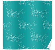 Pattern with hand drawn airplanes Poster