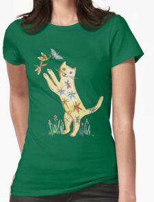 Cat with Butterflies Womens Fitted T-Shirt
