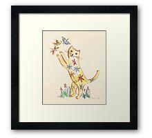 Cat with Butterflies Framed Print
