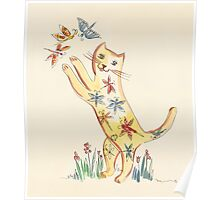 Cat with Butterflies Poster