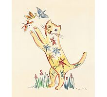 Cat with Butterflies Photographic Print