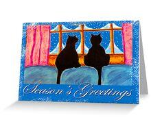 """Kitties Watching For Santa"" Greeting Card"
