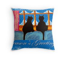 """Kitties Watching For Santa"" Throw Pillow"