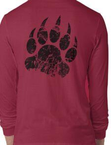Bear Claw Print Black Long Sleeve T-Shirt