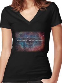 Einstein - Imagination Will Take You Everywhere Women's Fitted V-Neck T-Shirt