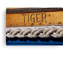 Tiger name on boat, Salcombe, Devon, UK Canvas Print