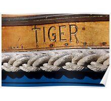 Tiger name on boat, Salcombe, Devon, UK Poster