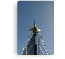 Bow of sailing yacht in boatyard, Salcombe, Devon, UK Canvas Print