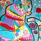 Abstract cat acrylic aceo by SJM by passsionflower7