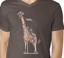Giraffes Love College Mens V-Neck T-Shirt