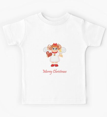 Cute Angel with Heart, star and text Kids Tee