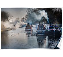 Winter canal scene at Bulbourne Poster