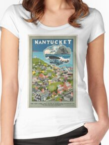 Vintage poster - Nantucket Women's Fitted Scoop T-Shirt