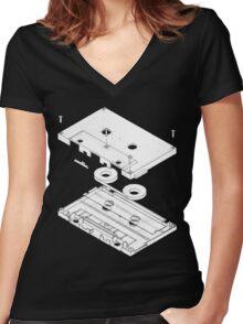 Exploded Cassette Tape  Women's Fitted V-Neck T-Shirt