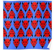 Red Devil pattern blue (Scream Queens) Poster