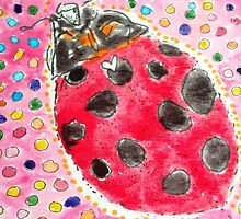 Ladybug colorful aceo watercolor by SJM by passsionflower7