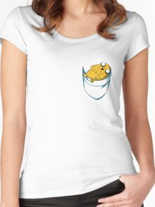 Adventure Time: Jake in Pocket Women's Fitted Scoop T-Shirt