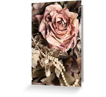 Vintage Rose & Pearls Greeting Card