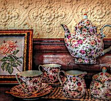 Peaches and Cream Roses Tea Set, Lambert Castle Collection by Jane Neill-Hancock