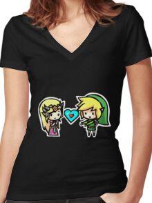 Link and Zelda Women's Fitted V-Neck T-Shirt