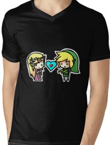 Link and Zelda Mens V-Neck T-Shirt