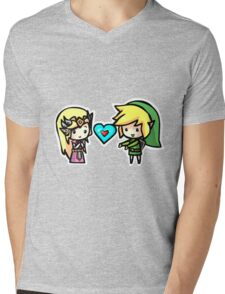 Link and Zelda Mens V-Neck T-Shirt