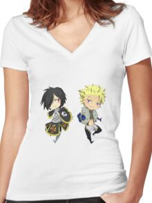 Sting and Rogue (chibi) Women's Fitted V-Neck T-Shirt