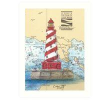 White Shoals Lighthouse MI Nautical Cathy Peek Art Print