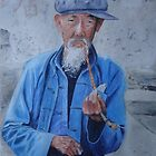Old man smoking by jadlart