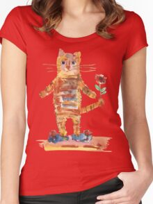 Cat Waiting for Sweetheart Women's Fitted Scoop T-Shirt