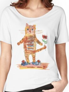 Cat Waiting for Sweetheart Women's Relaxed Fit T-Shirt
