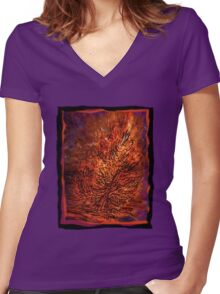 flame tree Women's Fitted V-Neck T-Shirt