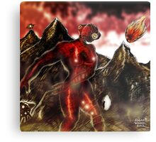 Red Alien on Mountain World Metal Print