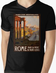 Vintage Travel Poster: Rome Mens V-Neck T-Shirt