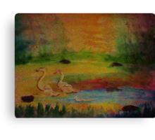 A couple. in the  swamp. watercolor Canvas Print