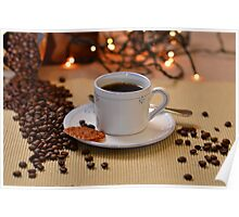 Coffee cup with golden coffee beans  Poster