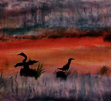 Sunrise ,heron feedng, watercolor by Anna  Lewis