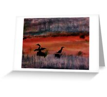 Sunrise ,heron feedng, watercolor Greeting Card