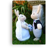 Hand knitted Bride and Groom Rabbits Canvas Print
