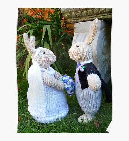 Hand knitted Bride and Groom Rabbits Poster