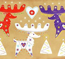 Three Folk Reindeer by iamsla