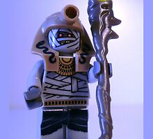 Pharoah's Quest Mummy with Gold Head Gear with Custom LEGO® Magical Jewelled Staff, by 'Customize My Minifig' by Chillee