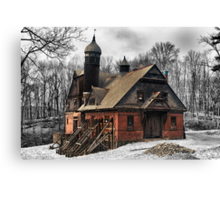 Abandoned barn, horse stable. Canvas Print